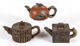 Chinese Yixing Ceramic Teapots, Lot Of Three
