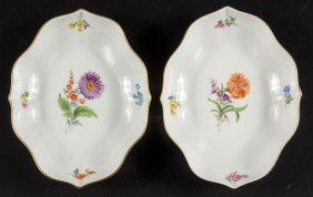 German Meissen Porcelain Dishes, Pair