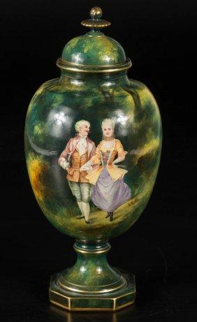 German Royal Bonn Ceramic Urn With Cover