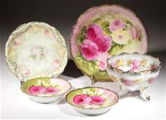 CONTINENTAL FLORAL DECORATED PORCELAIN TABLE ARTICLES