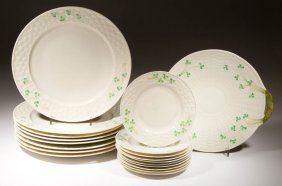 Irish Belleek Porcelain Plates, Lot Of 19