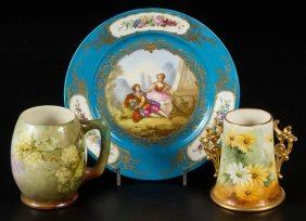 Assorted Hand-painted Porcelain Articles, Lot Of Three