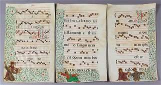 ILLUMINATED VELLUM SHEET MUSIC / MANUSCRIPTS, SET OF