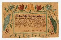 RARE AND IMPORTANT 1809 DANIEL WIESSLER, ROCKINGHAM