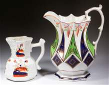 ENGLISH AND WELSH CERAMIC PITCHERS LOT OF TWO