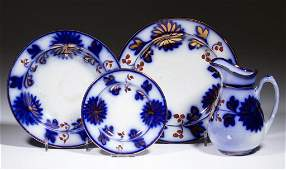 ENGLISH FLOW BLUE GAUDY IRONSTONE TABLE ARTICLES LOT