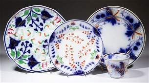 ENGLISH FLOW BLUE GAUDY IRONSTONE TABLE ARTICLES, LOT