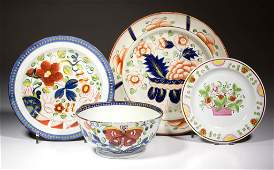 ENGLISH PEARLWARE GAUDY DUTCH CERAMIC TABLE ARTICLES,