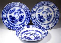 ENGLISH FLOW BLUE IRONSTONE TABLE ARTICLES, LOT OF