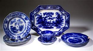 ENGLISH FLOW BLUE IRONSTONE TABLE ARTICLES LOT OF NINE