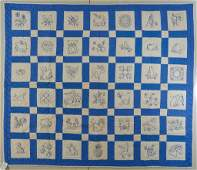 AMERICAN PICTORIAL ALBUM EMBROIDERED QUILT