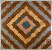 AMERICAN LOG CABIN  BARN RAISING PIECED QUILT