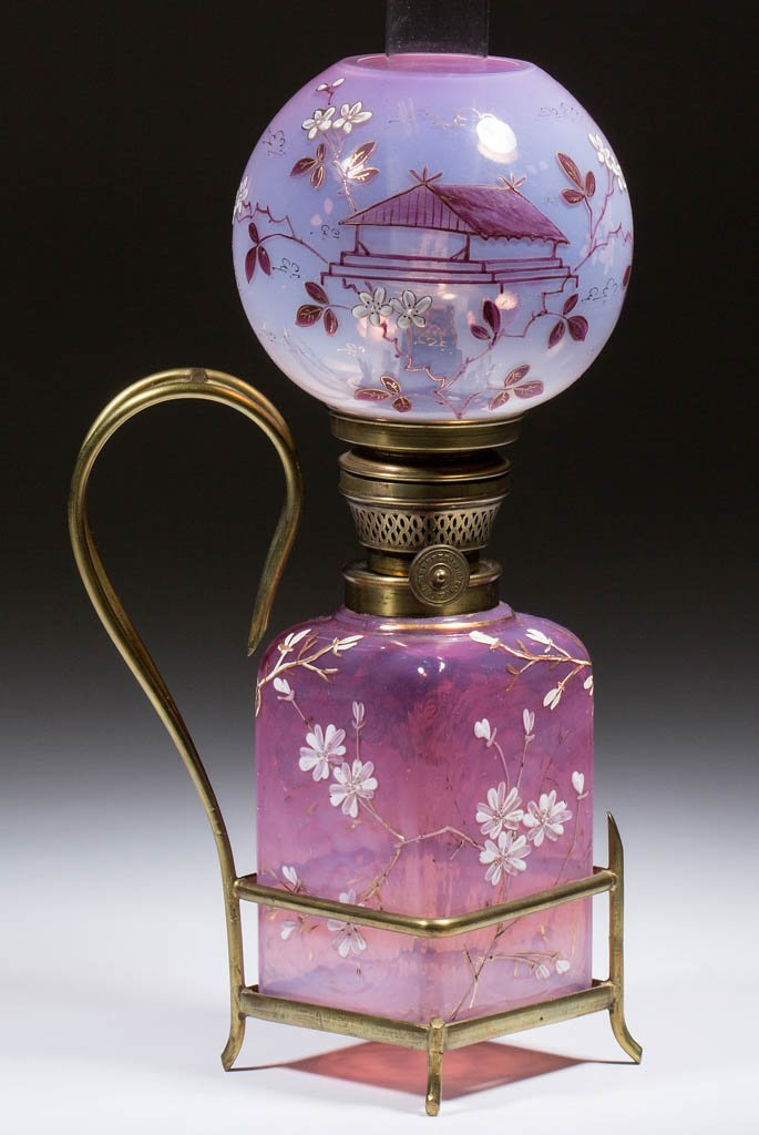 OPALESCENT ENAMEL-DECORATED MINIATURE LAMP