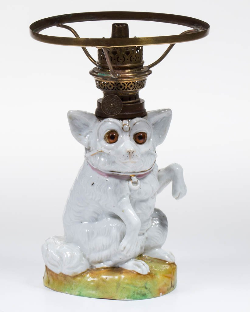 DOG FIGURAL PORCELAIN MINIATURE LAMP