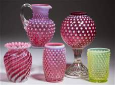 ASSORTED FENTON GLASS ARTICLES, LOT OF FIVE