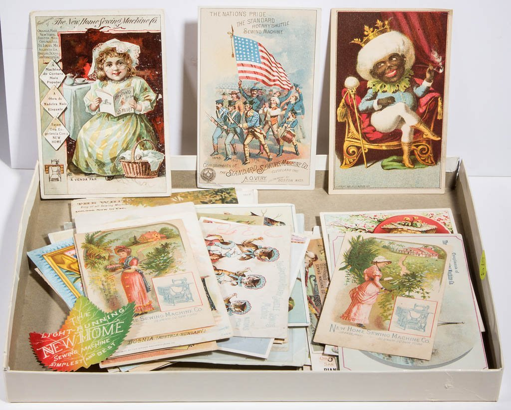 SEWING MACHINE ADVERTISING TRADE CARDS, LOT OF 56