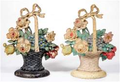 HUBLEY ROSES WITH MIXED FLOWER BASKET CAST-IRON