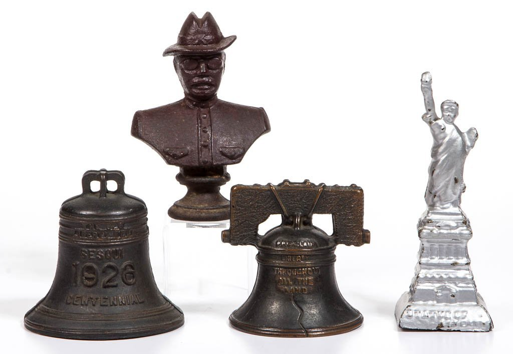 ASSORTED PATRIOTIC METAL PENNY BANKS, LOT OF FOUR