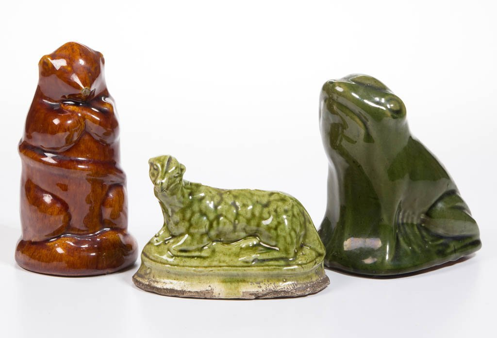 AMERICAN / ENGLISH FIGURAL ANIMAL CERAMIC PENNY BANKS,
