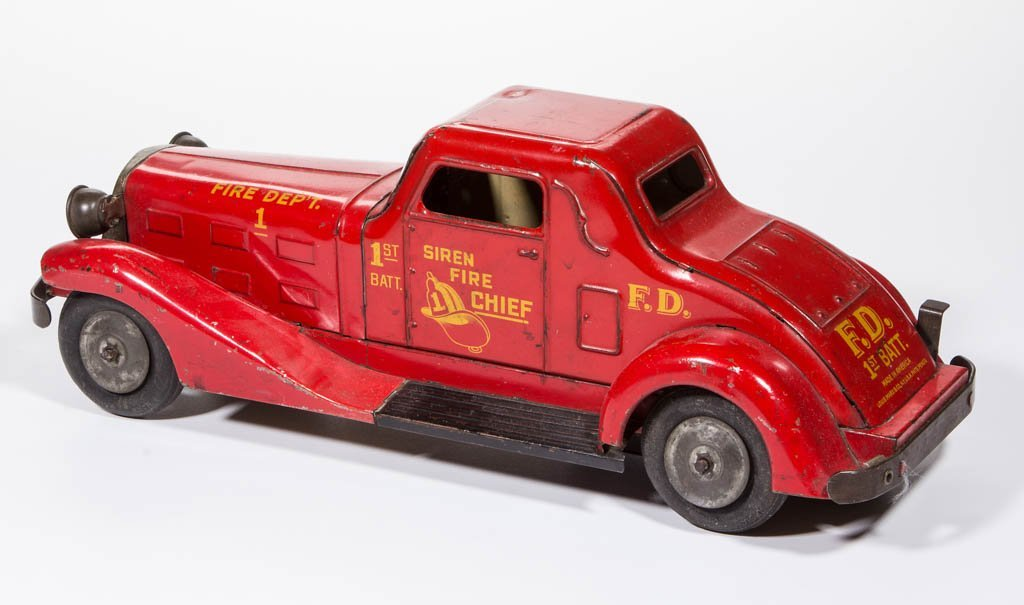 MARX SIREN FIRE CHIEF PRESSED-STEEL WIND-UP AUTO TOY - 2