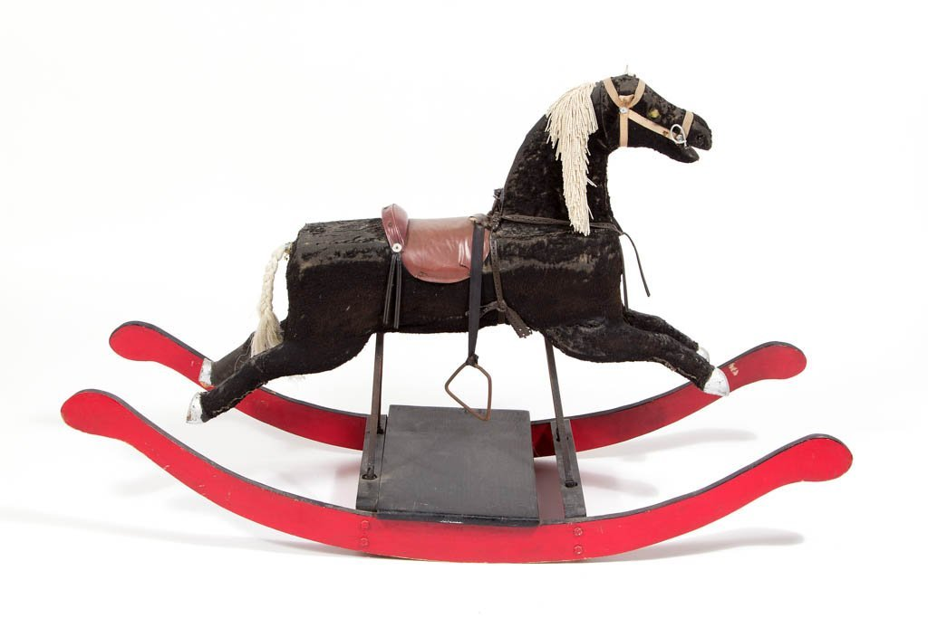 AMERICAN FOLK ART PAINT-DECORATED CHILD'S ROCKING HORSE - 2