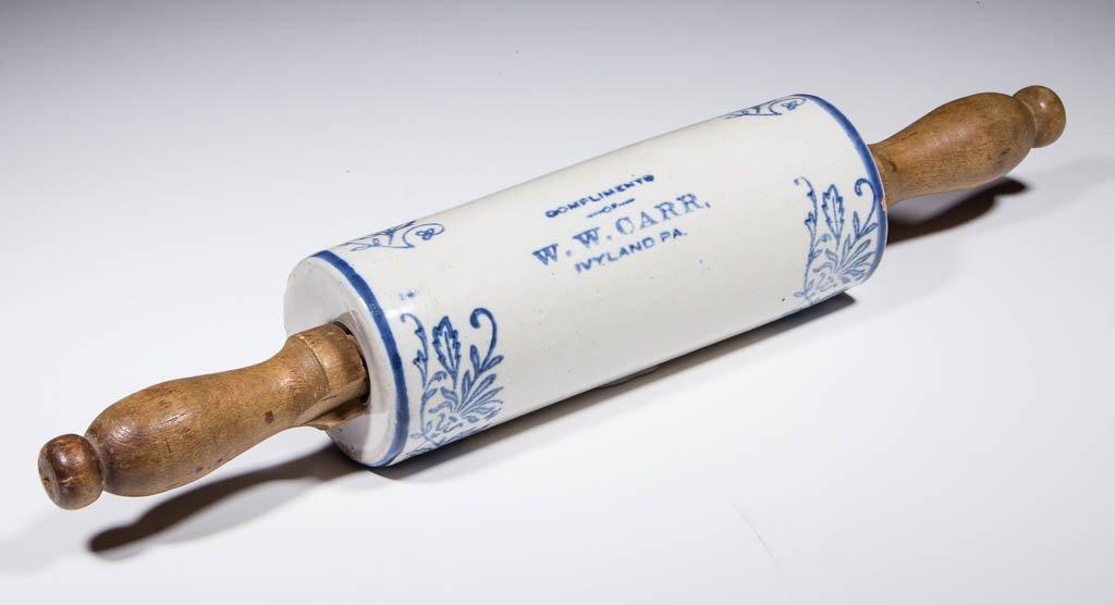 BLUE AND WHITE SALT-GLAZED CERAMIC ADVERTISING ROLLING