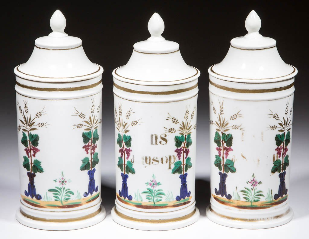 FRENCH PORCELAIN APOTHECARY SHOP JARS, SET OF THREE