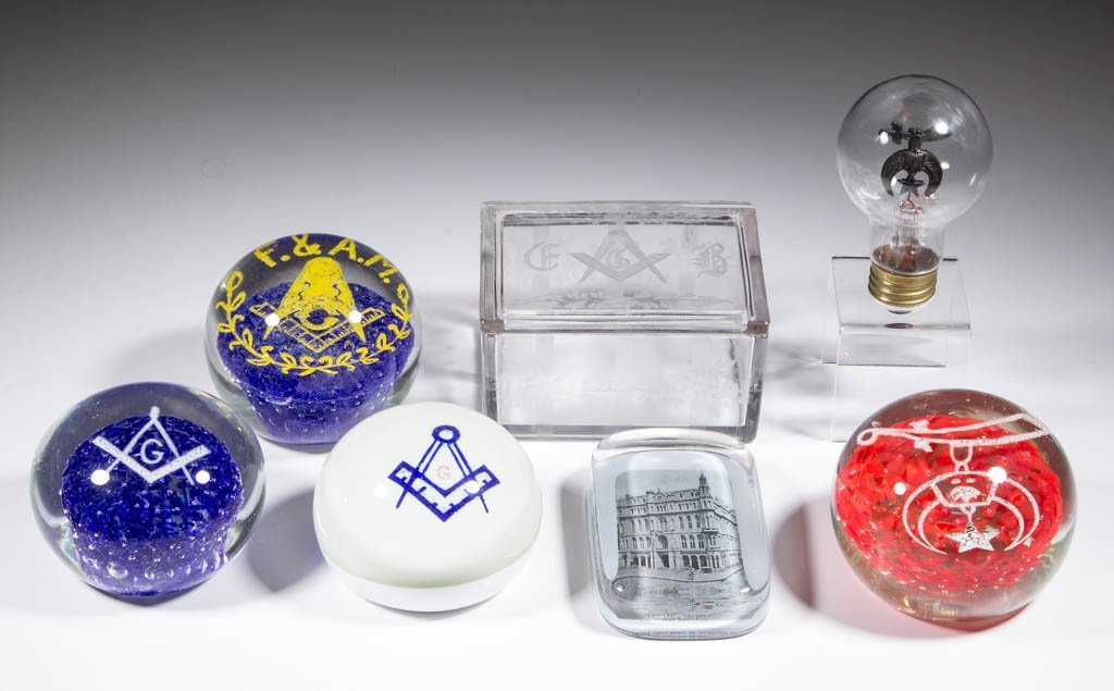 MASONIC AND SHRINER GLASS ARTICLES, LOT OF SEVEN