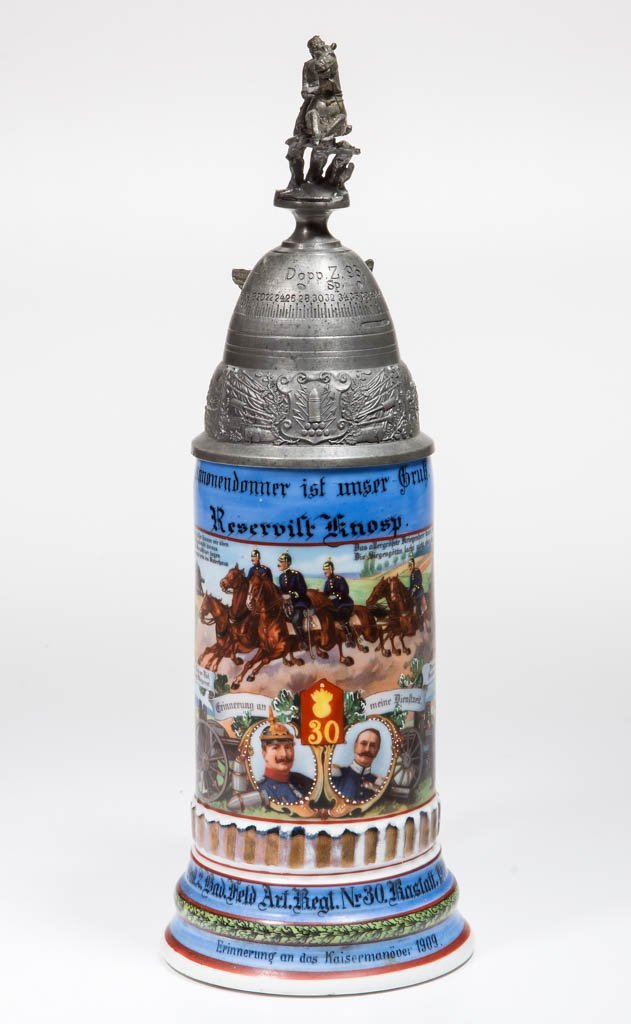 GERMAN PORCELAIN REGIMENTAL BEER STEIN