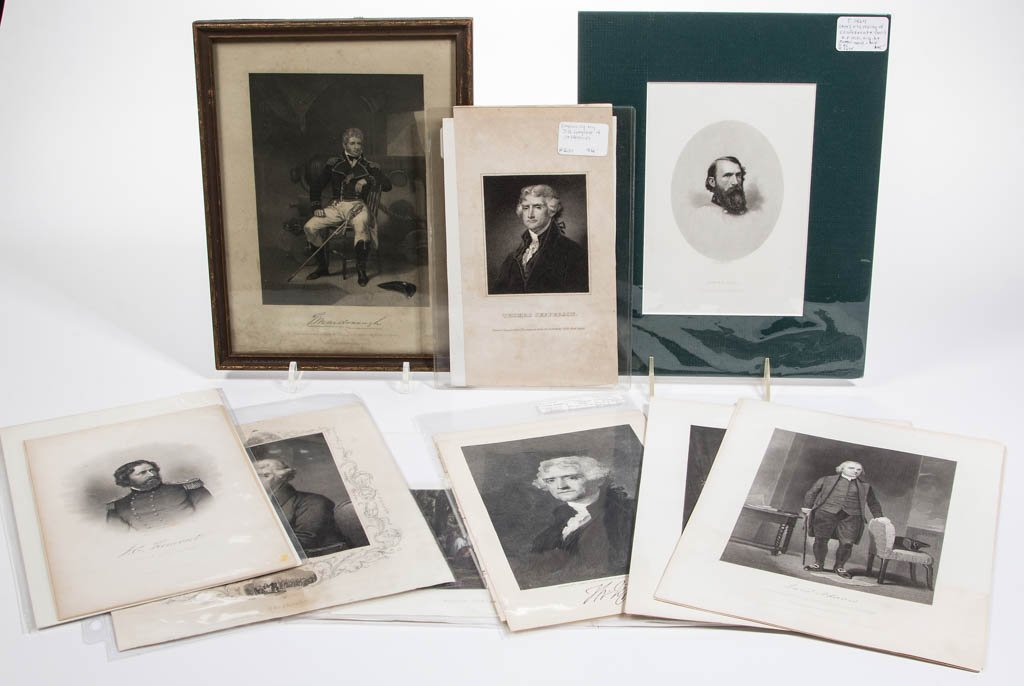 AMERICAN HISTORICAL PORTRAIT PRINTS, LOT OF 18
