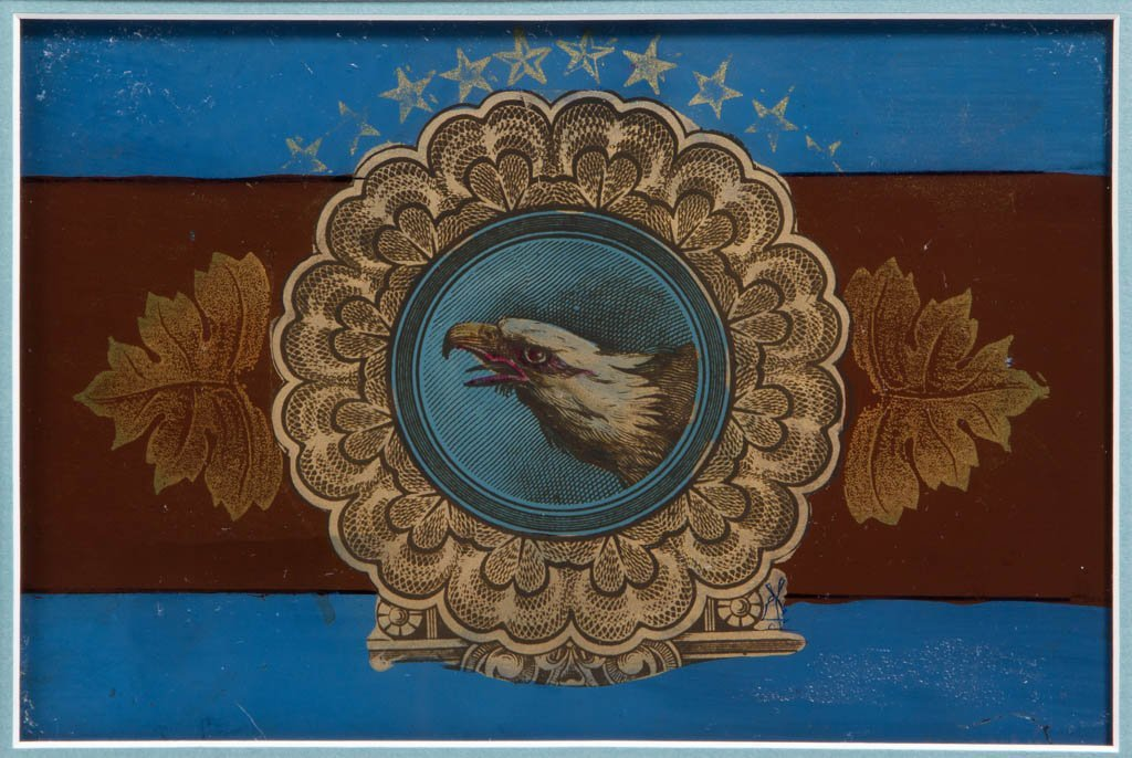 AMERICAN HISTORICAL REVERSE-PAINTED GLASS PANELS, LOT - 3