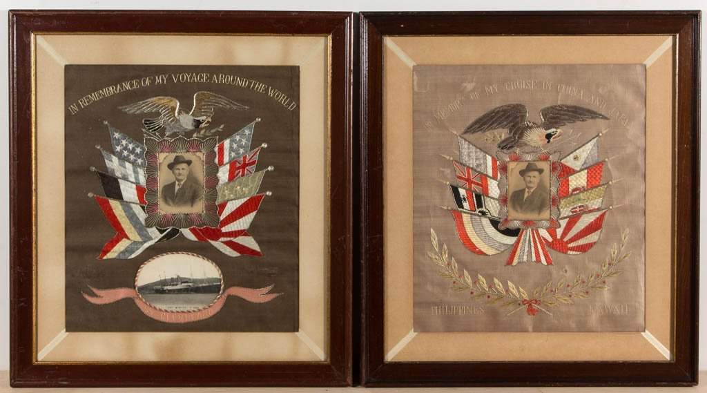 PAIR OF PATRIOTIC NEEDLEWORK PICTURES