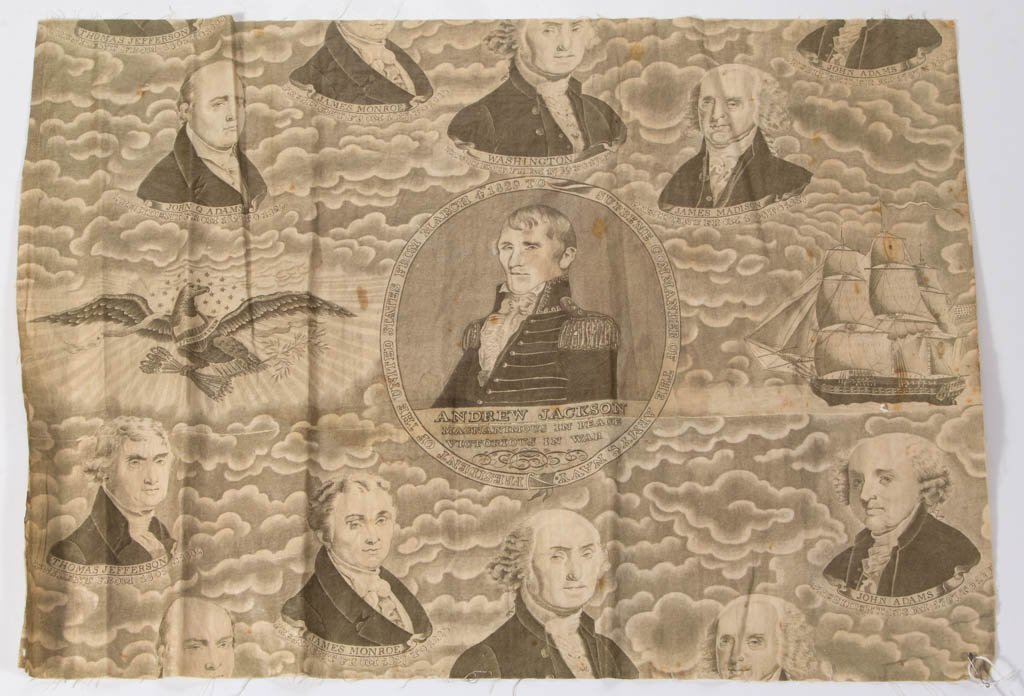 AMERICAN HISTORICAL PRESIDENTIAL CHINTZ FABRIC FRAGMENT