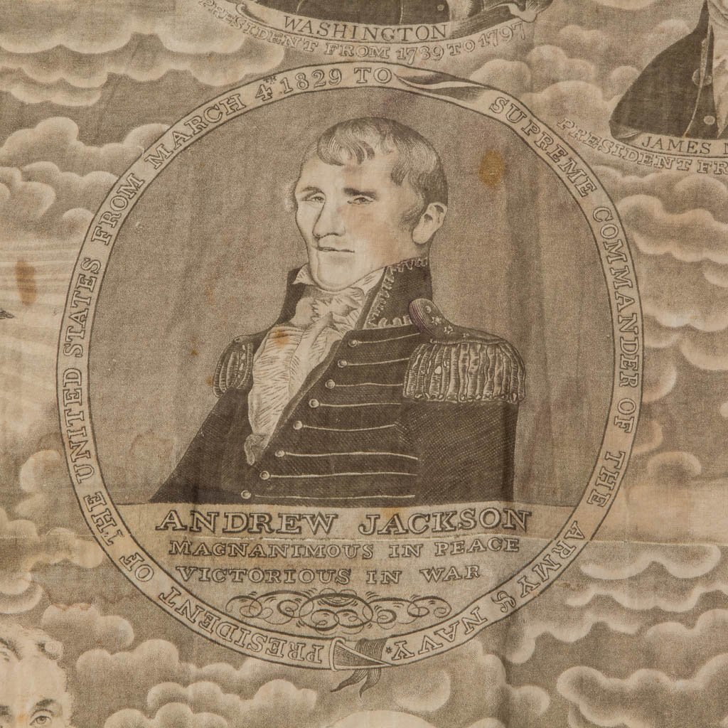 AMERICAN HISTORICAL PRESIDENTIAL CHINTZ FABRIC FRAGMENT - 2