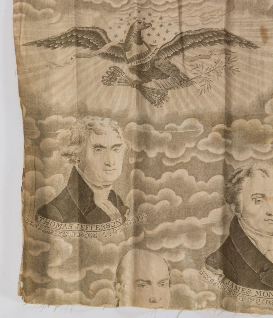 AMERICAN HISTORICAL PRESIDENTIAL CHINTZ FABRIC FRAGMENT - 4