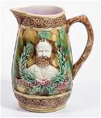 ENGLISH MAJOLICA AMERICAN HISTORICAL CERAMIC PITCHER
