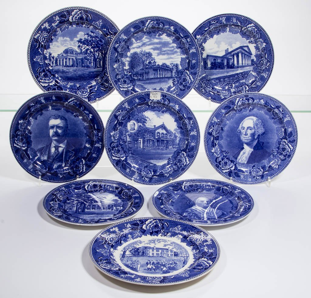 ENGLISH WEDGWOOD AMERICAN HISTORICAL CERAMIC PLATES,