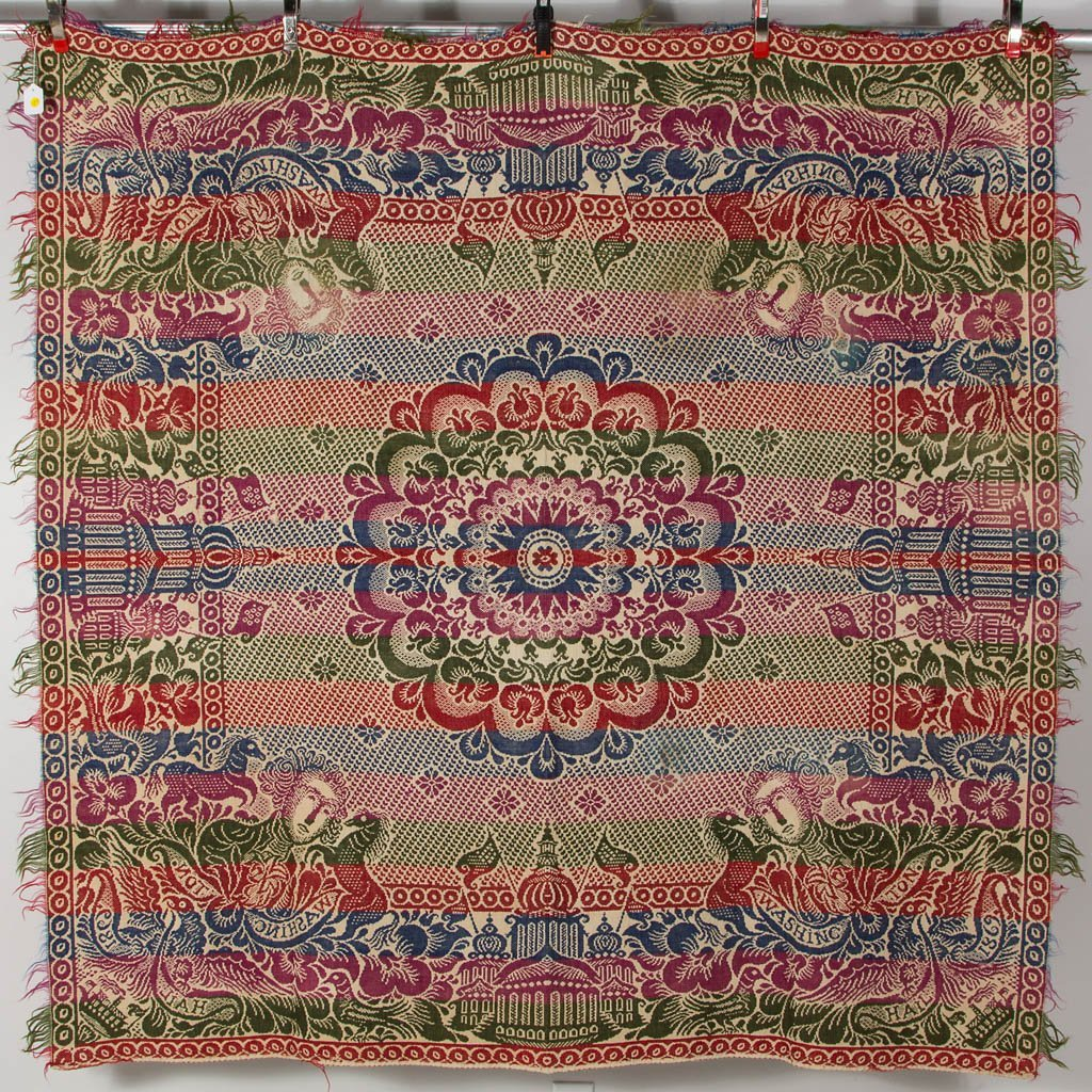 AMERICAN HISTORICAL WOVEN JACQUARD COVERLET