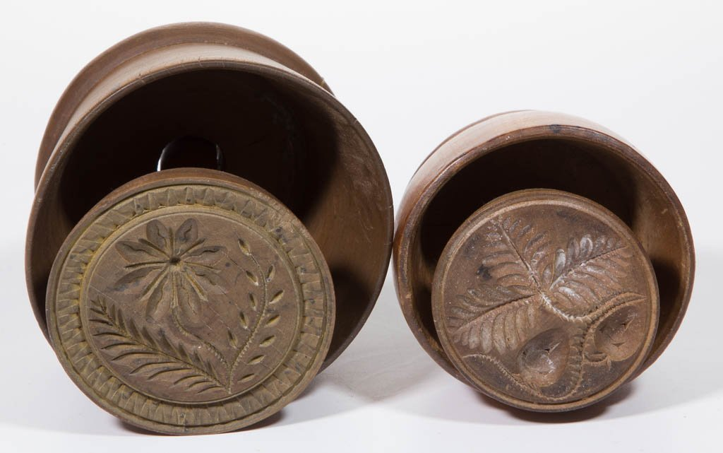 AMERICAN CARVED TREEN BUTTER MOLDS, LOT OF TWO - 2