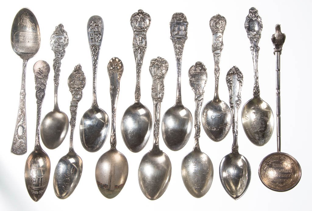 STERLING SILVER SOUVENIR SPOONS, LOT OF 12