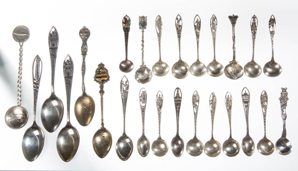 STERLING SILVER SOUVENIR SPOONS, LOT OF 24