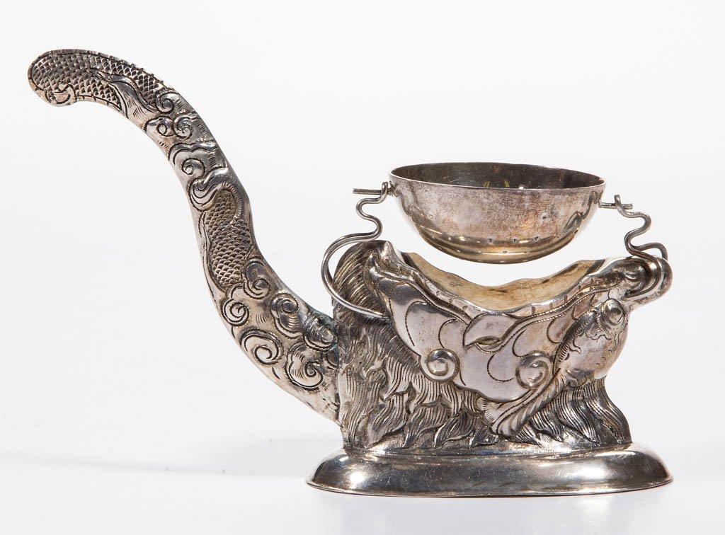 VIETNAMESE / RUSSIAN COIN SILVER FIGURAL TEA STRAINER