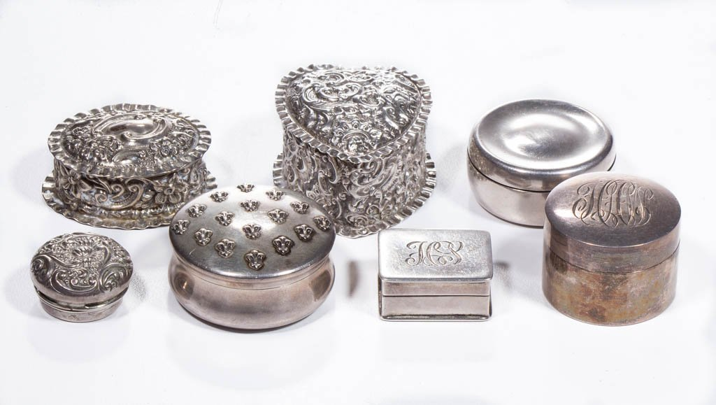 STERLING SILVER PILL BOXES, LOT OF SEVEN