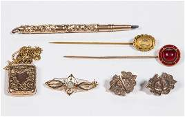 VICTORIAN GOLD AND GOLDFILLED JEWELRY LOT OF SEVEN