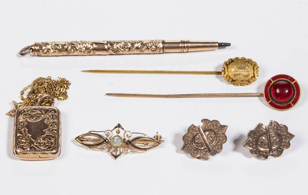 VICTORIAN GOLD AND GOLD-FILLED JEWELRY, LOT OF SEVEN