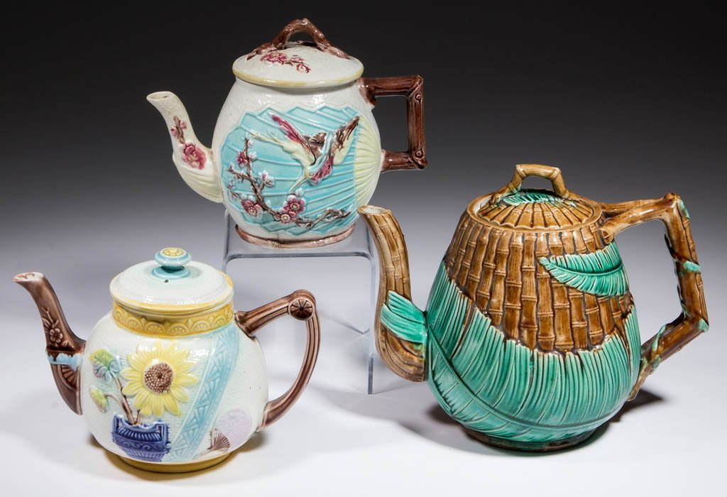 ENGLISH MAJOLICA CERAMIC TEAPOTS, LOT OF THREE