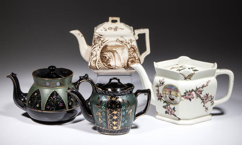 ENGLISH CERAMIC TEAPOTS, LOT OF FOUR