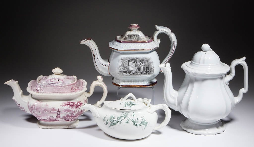 ENGLISH IRONSTONE CERAMIC TEAPOTS, LOT OF FOUR