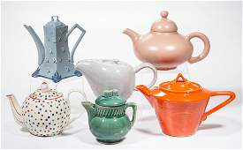 ASSORTED CERAMIC TEAPOTS LOT OF SIX