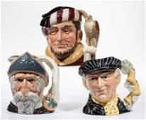 ENGLISH ROYAL DOULTON CERAMIC TOBY MUGS, LOT OF THREE